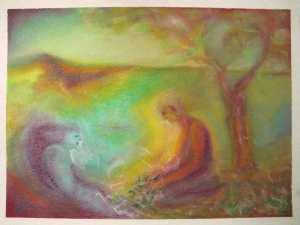 Tending, pastel on paper 40x30cm $380